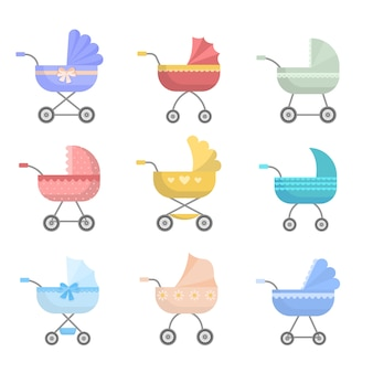 Set of cute colorful baby stroller, modern  and basket