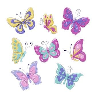 만화 스타일의 귀여운 화려한 나비를 설정합니다. 어린이를 위한 삽화. eps10 벡터 그래픽입니다.