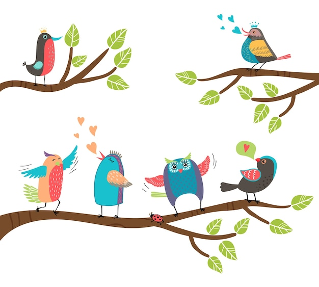 Set of cute colorful cartoon birds perched on branches with a blackbird  lovebird  owl  thrush  robin singing and tweeting with two involved in a courtship display