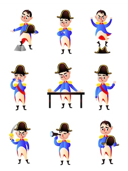 Set of cute colorful character of napoleon, kid clothes