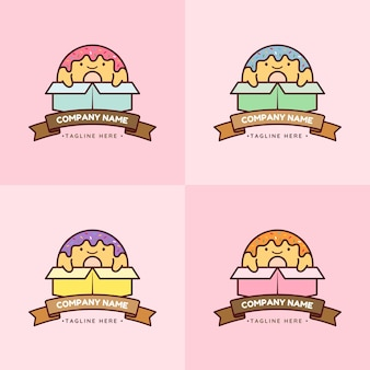 Set of cute colorful donut mascot character in various color box in pink background