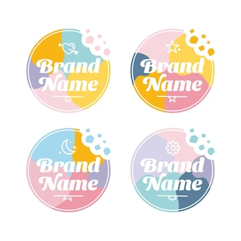 Set of cute and colorful logo vector template with bites of cookies emblem and crumble