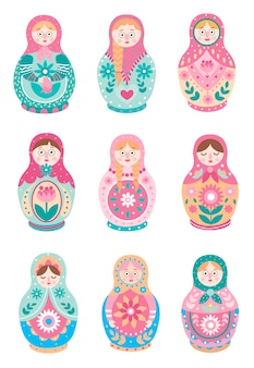 Set of cute colorful russian traditional nesting doll