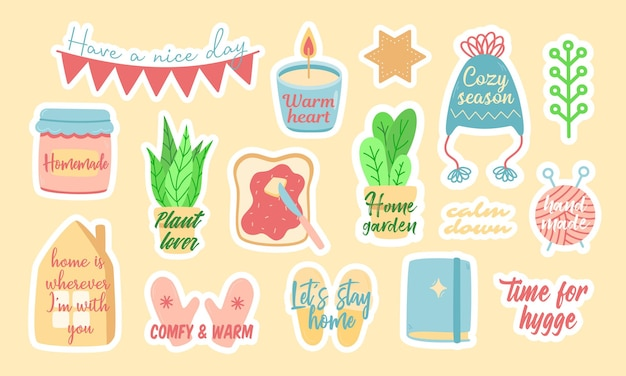 Set of cute colorful vector stickers of assorted minimal symbols of coziness and comfort with stylish creative inscriptions and slogans
