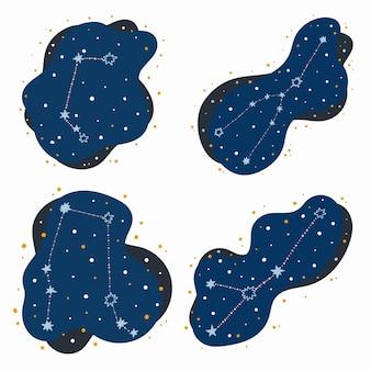 귀여운 별자리 조디악 표지판 양자리, 황소 자리, 쌍둥이 자리, 암을 설정합니다. 추상적인 공간에 낙서, 손으로 그린 별과 점. 벡터 일러스트 레이 션.