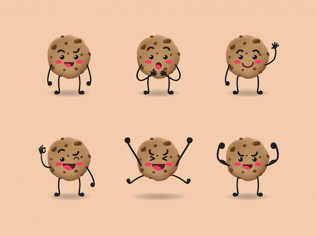 Set of cute cookie expression design