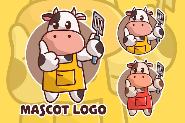 Set of cute cooking cow mascot logo