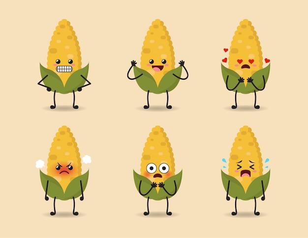 Set of cute corn expression design Premium Vector