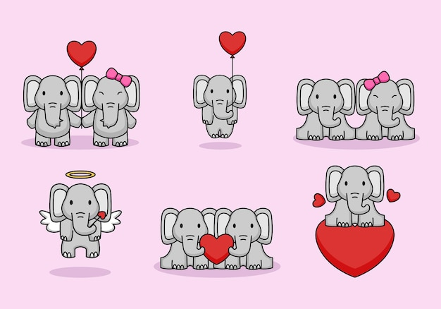 Set of cute couple elephants love on valentine's day