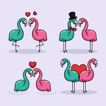 Set of cute couple flamingo in valentine's day