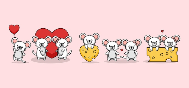 Set of cute couple mouse love in valentine's day