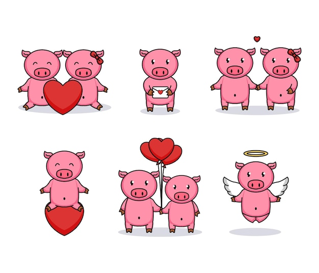 Set of cute couple pigs love in valentine's day