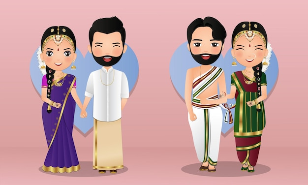 Set of cute couple in traditional indian dress cartoon characters bride and groom.wedding invitations card.