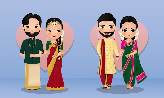 Set of cute couple in traditional indian dress cartoon characters bride and groom wedding