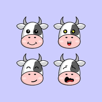 Set cute cow cartoon head character with different expression vector illustration