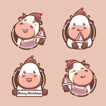 Set of cute cow christmas holding delicious ice cream and yogurt. kawaii style