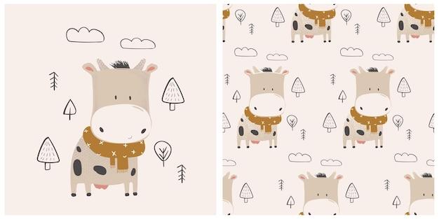 Установить симпатичные коровы шаблон рисованной векторные иллюстрации
