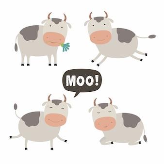 Set of cute cow