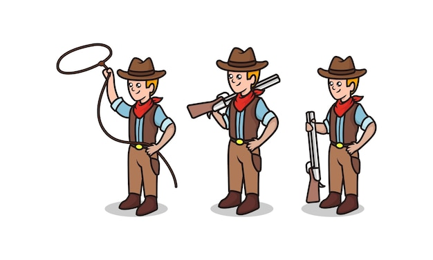 Set of cute cowboy wild west sheriff mascot design illustration