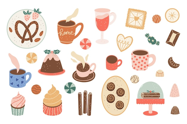 Set of cute and cozy christmas food