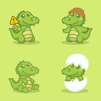Set of cute crocodile character. cartoon vector illustration.