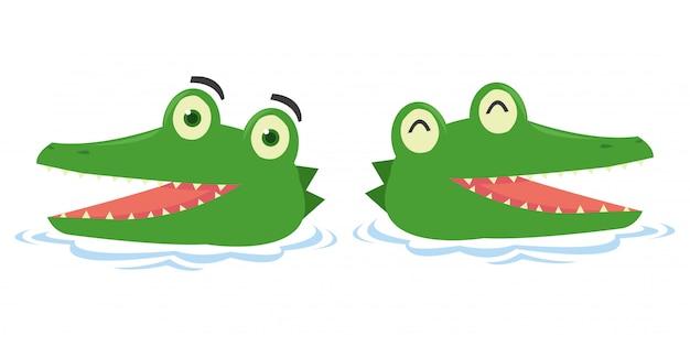 Set of cute crocodile in the lake