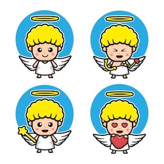 Set of cute cupid cartoon character