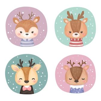 Set of cute deer clipart