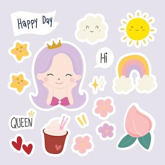 Set of cute dessert stickers