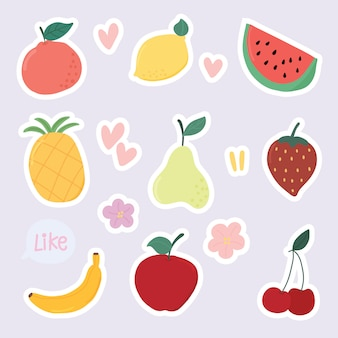Set of cute dessert stickers