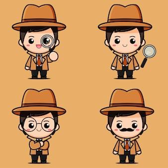 Set of cute detective designs