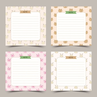 Set of cute diary notes with little animals frame.