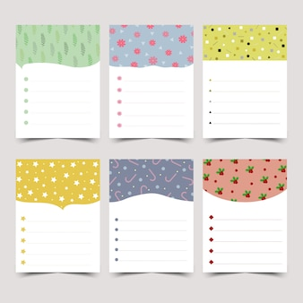 Set of cute diary notes.
