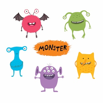 Set of cute different cartoon monsters