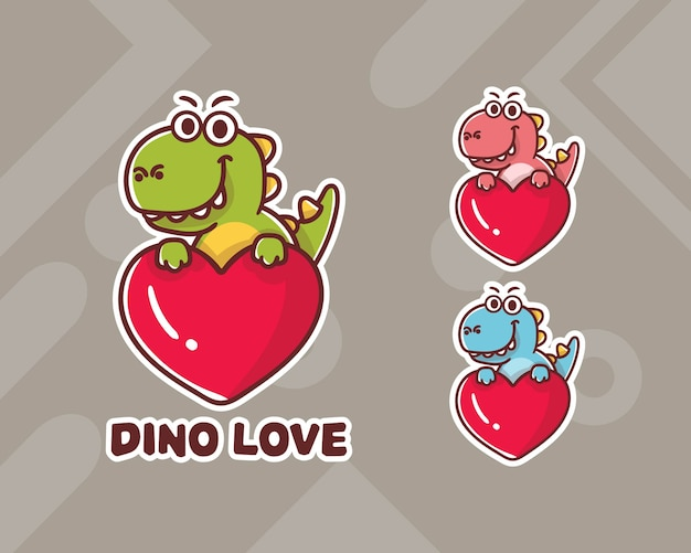 Set of cute dino heart mascot logo with optional appearance.