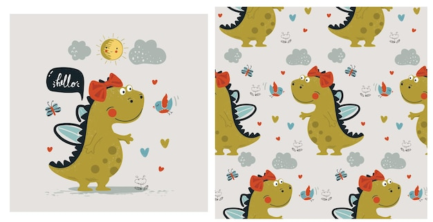 Set of cute dinosaur girl with seamless patterncartoon hand drawn