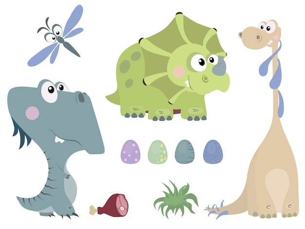 Set of cute dinosaurs in cartoon style