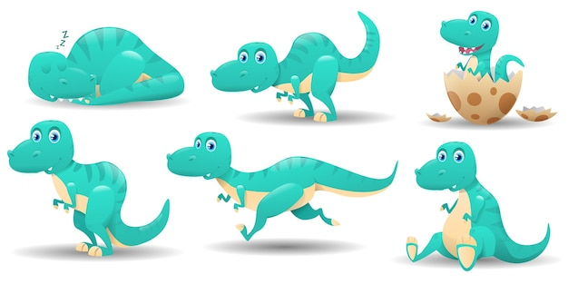 Set of cute dinosaurs characters