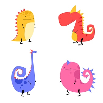 Set of cute dinosaurs in hand drawn style for kids prints