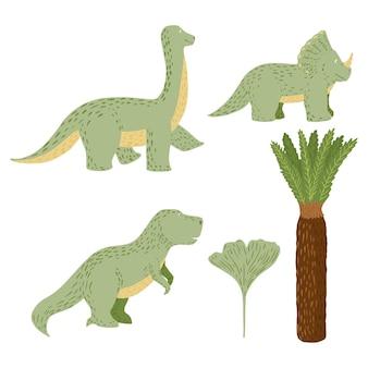 白い背景の上にかわいい恐竜を設定します。ファンタジー動物ジュラ紀のティラノサウルス、トリケラトプス、ブラキオサウルス、手のひら、イチョウの落書きベクトルイラスト。