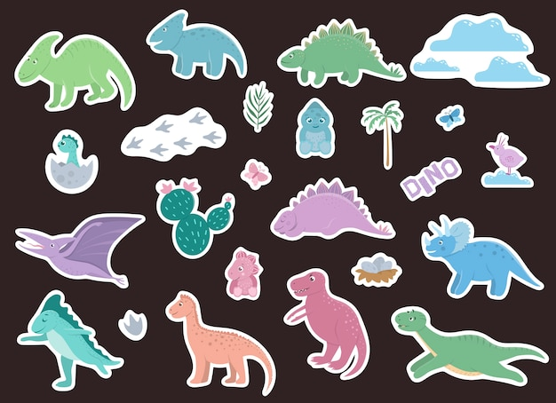 Set of cute dinosaurs stickers.