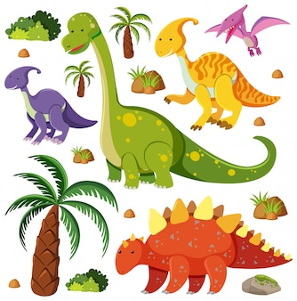 Set of cute dinosaurs  on white background