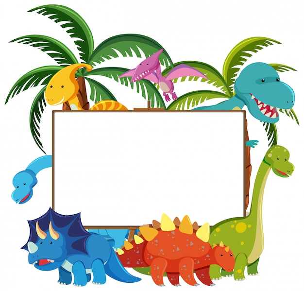 Set of cute dinosaurs with blank banner isolated on white background