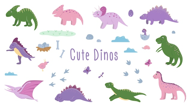 Set of cute dinosaurs with clouds, eggs, bones, birds for children. dino flat cartoon characters. cute prehistoric reptiles illustration.