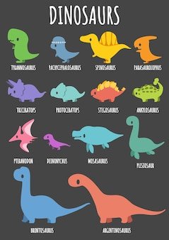 Set of cute dinosaurs with their names.