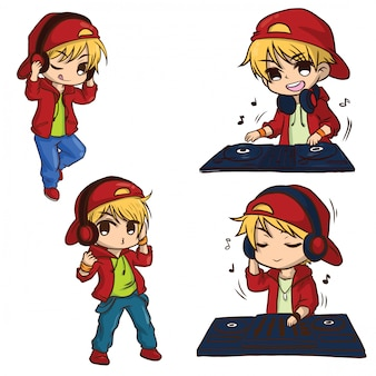 Set cute disc jockey cartoon