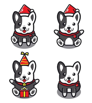 Set of cute dog . animal concept isolated . flat cartoon style