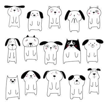 Set of cute dog character design. illustration.