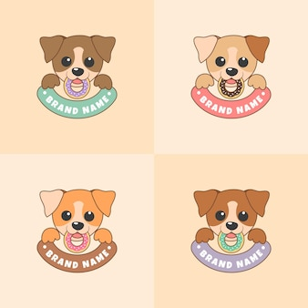 Set of cute dog face vector illustration with colorful doughnut in light brown background