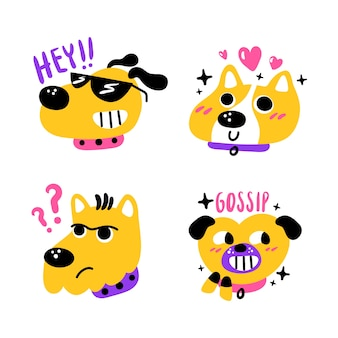 Set of cute dog hand drawn stickers